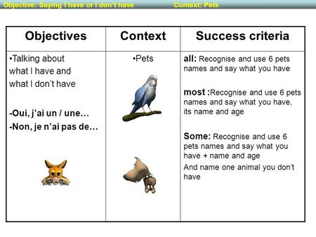 ObjectivesContextSuccess criteria Talking about what I have and what I don't have -Oui, j'ai un / une… -Non, je n'ai pas de… Petsall: Recognise and use.