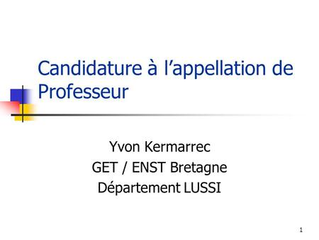 Candidature à l'appellation de Professeur