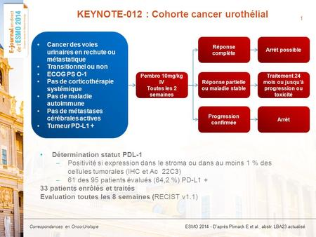 KEYNOTE-012 : Cohorte cancer urothélial