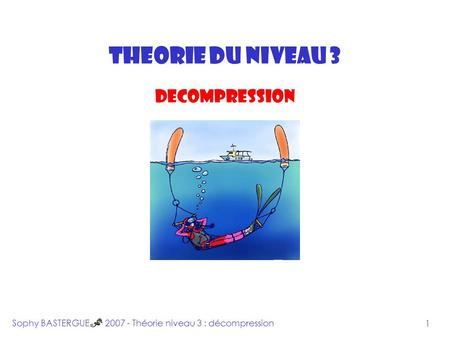 INTRODUCTION THEORIE DU NIVEAU 3 DECOMPRESSION Sophy BASTERGUE 2007 - Théorie niveau 3 : décompression 1.