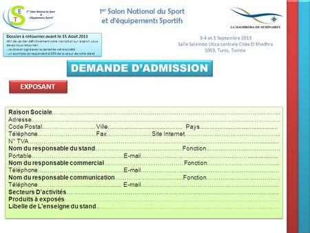 DEMANDE D'ADMISSION 1er Salon National du Sport