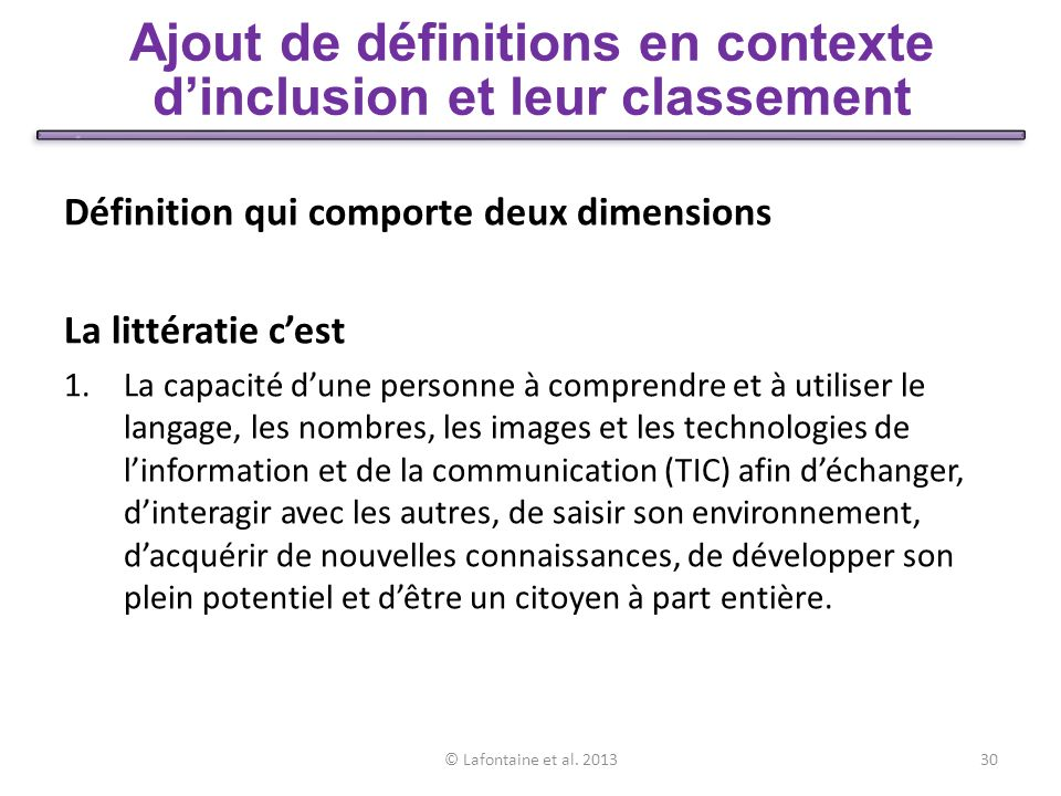 Dans la perspective inclusive de CIRLI, la définition de la littératie saccompagne dune 2 ième dimension: 2.