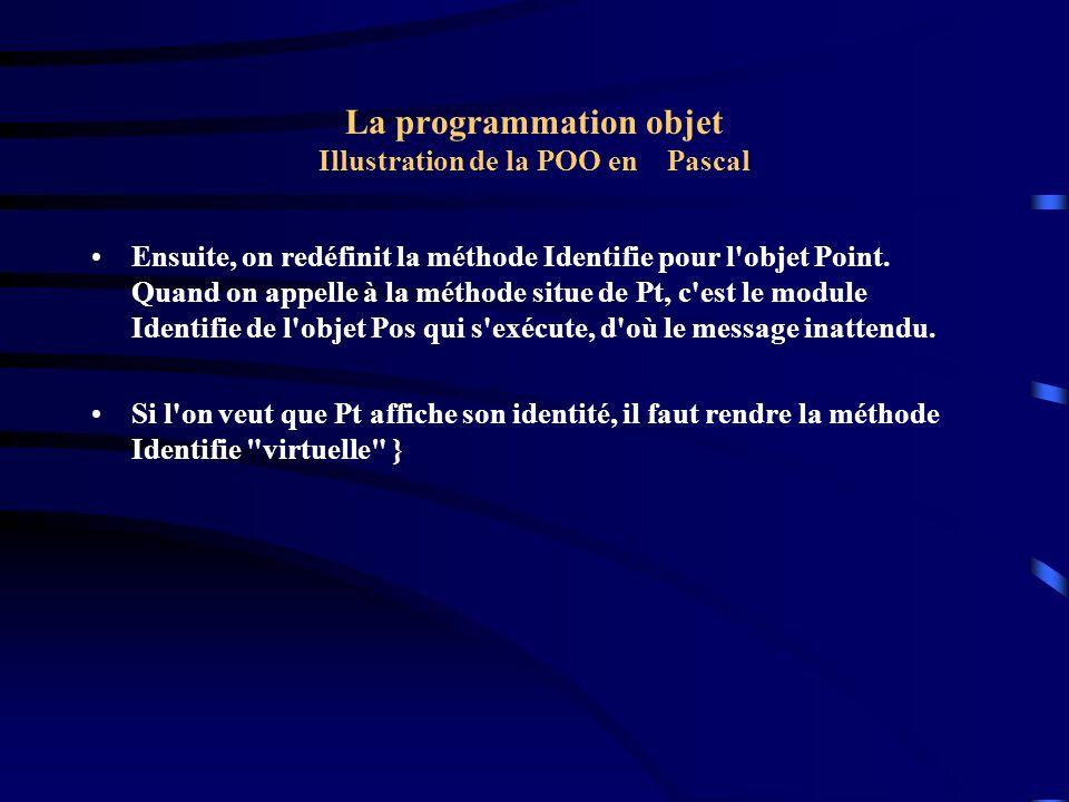 La programmation objet Illustration de la POO en Pascal Program P5; Uses U1; Type Point = Object ( Emplacement ) couleur : byte; Procedure colore(c : byte ); Procedure Identifie; End; Procedure Point.Colore( c : byte ); Begin couleur := c End; Procedure Point.Identifie; Begin Writeln( Je suis un objet de type Point de couleur , couleur ); End;