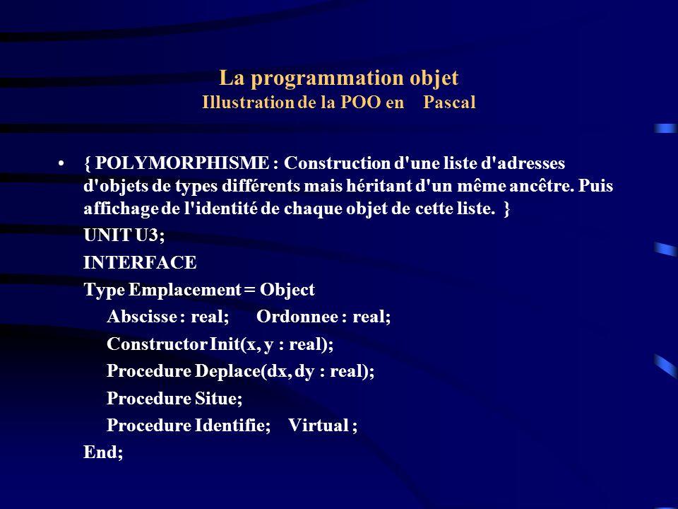 La programmation objet Illustration de la POO en Pascal Type Point = Object ( Emplacement ) couleur : byte; Procedure colore(c : byte ); Procedure Identifie; virtual; End; Type Carre = Object ( Point ) Procedure identifie; Virtual ; End; IMPLEMENTATION Constructor Emplacement.Init (x, y : real); Begin abscisse := x ; Ordonnee := y ; End;