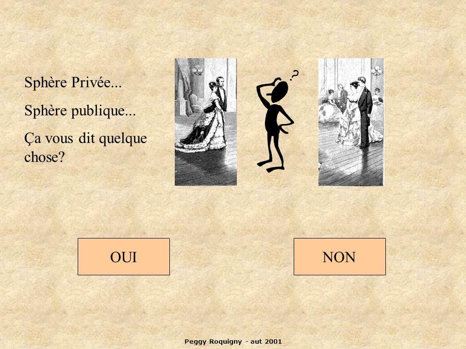 Peggy Roquigny - aut 2001 Sphère Privée... Sphère publique... Ça vous dit quelque chose? OUINON