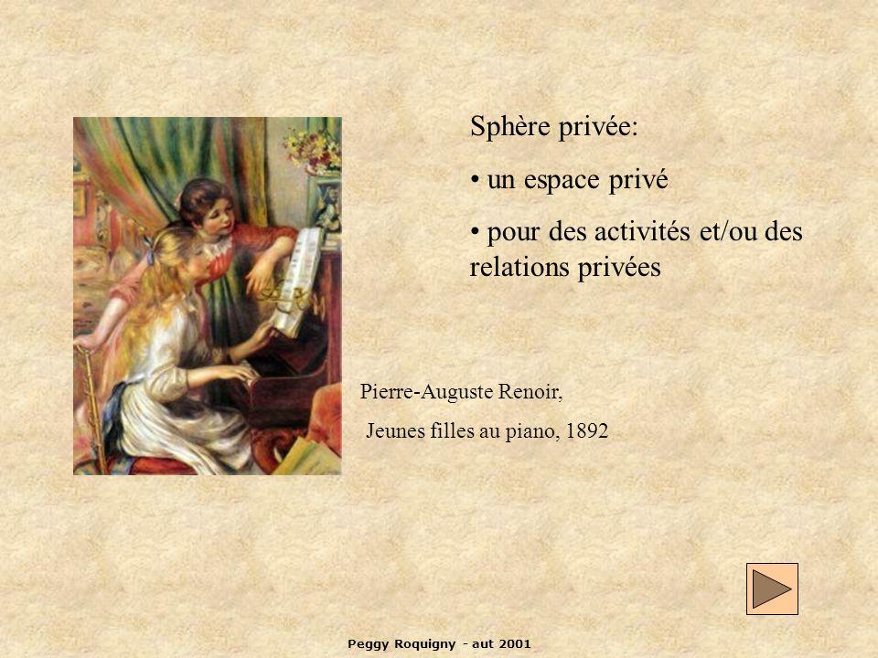 Peggy Roquigny - aut 2001 Sphère privée: un espace privé pour des activités et/ou des relations privées Pierre-Auguste Renoir, Jeunes filles au piano, 1892