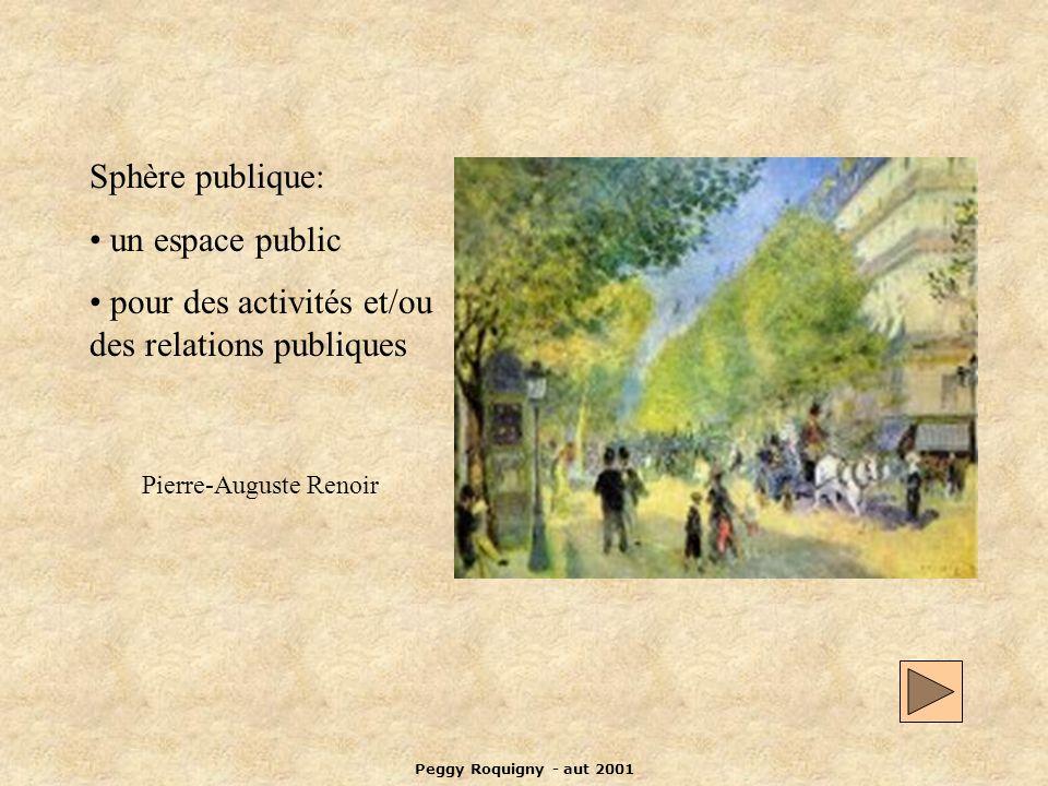 Peggy Roquigny - aut 2001 Sphère publique: un espace public pour des activités et/ou des relations publiques Pierre-Auguste Renoir