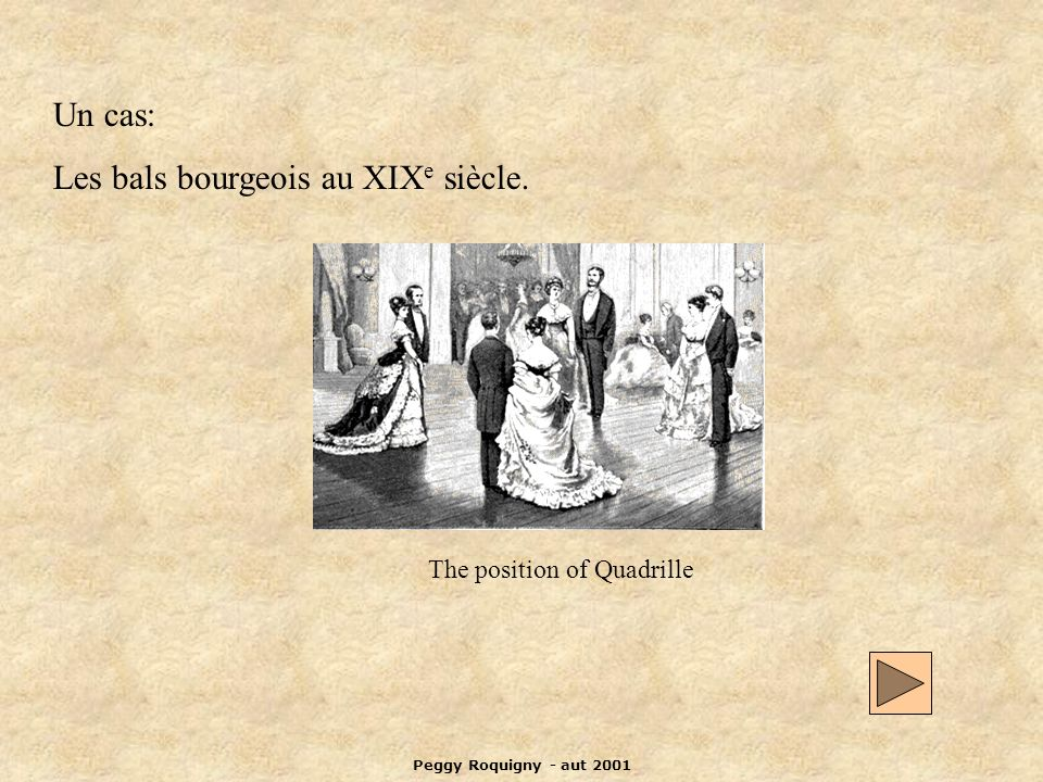 Peggy Roquigny - aut 2001 Un cas: Les bals bourgeois au XIX e siècle. The position of Quadrille