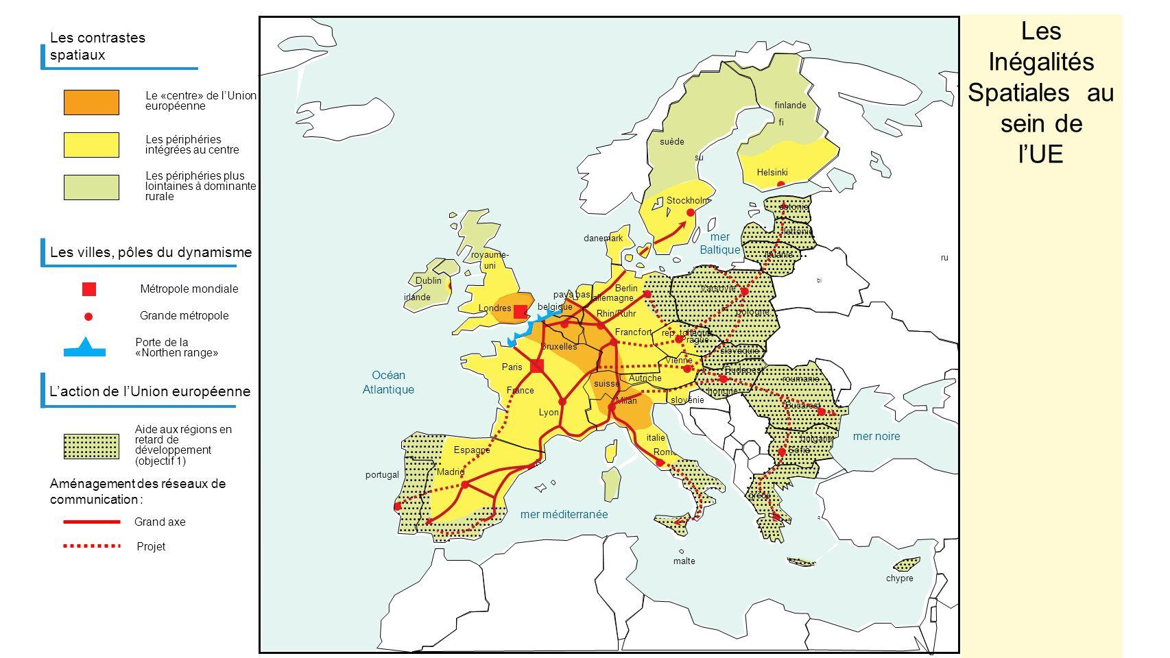 Trafic conteneurs (en millions de conteneurs) trafic>2 millions Seine Oise Meuse Rhin Wezer Escault Elbe France Belgique Lux.