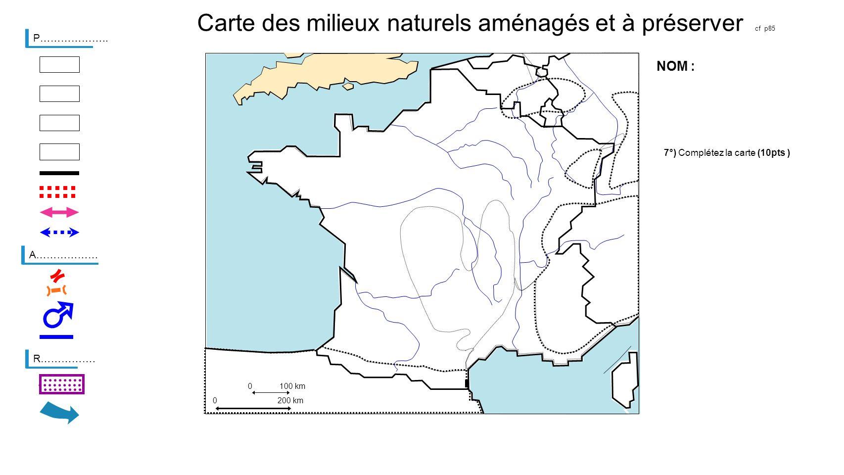 Potentialités et contraintes du territoire français 0100 km 0200 km