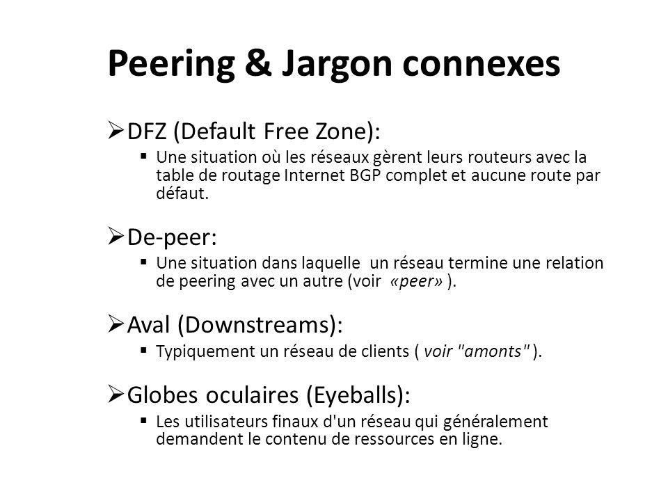 Peering & Jargon connexes Facilité: Peut être synonyme d un centre de données ou de site co-lo où les réseaux abritent leur infrastructure.