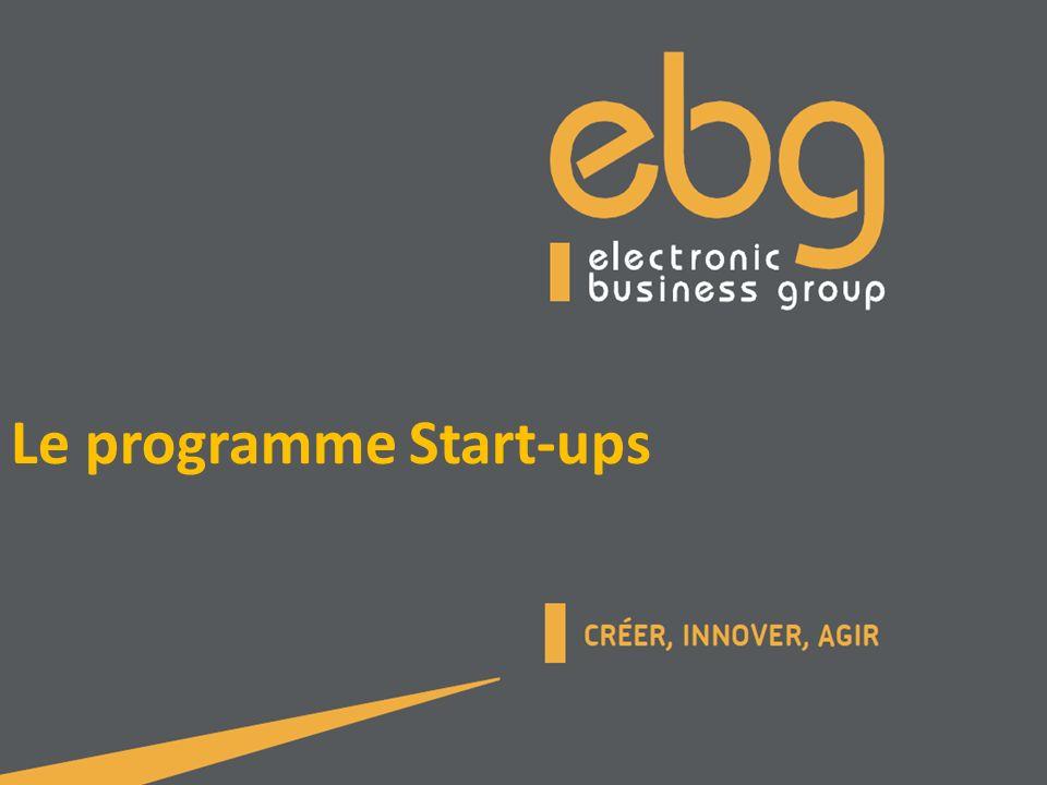 Programme Start-ups Concept Contact Intérêt pour les start-ups / Gains du coup de cœur EBG Présentation dune matinée Start-ups Le programme EBG 100 Mécanisme de sélection des start-ups Composition public / comité de pilotage Le programme « EBG 100 », une communauté puissante