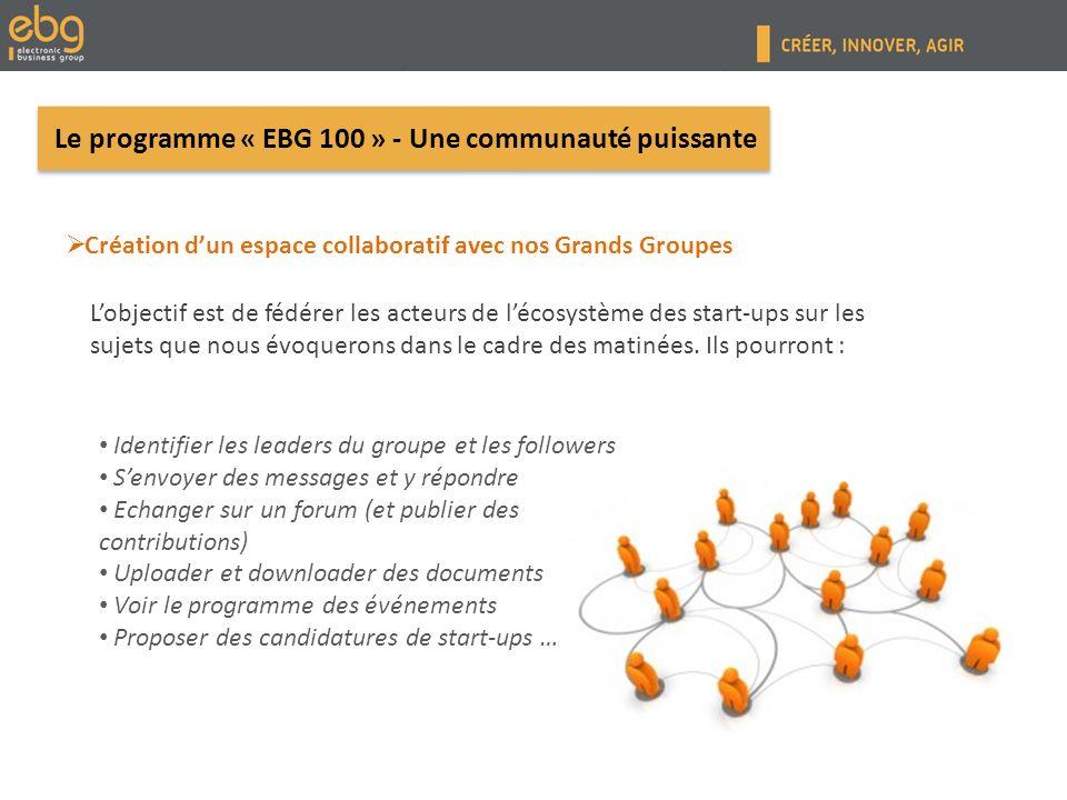 Contact POUR PLUS DINFORMATIONS Claire Veignant Responsable commission Start-up & Responsable développement de lEBG EBG - Electronic Business Group 10, rue Mercoeur - 75011 Paris www.ebg.net www.ebg.net Tel : +33 (0)1 45 23 05 44 Mail : claire.veignant@ebg.net