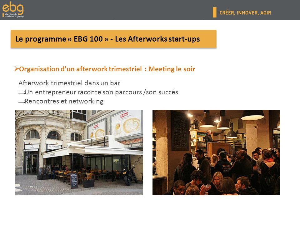 Le programme « EBG 100 » - Matinée Start-up Organiser un rendez-vous tous les deux mois avec : 3 Start-ups labélisées par lEBG sur 1 thème précis Une dizaine dinfluenceurs de lécosystème start-up (membres du comité de pilotage) 3 Start-ups labélisées par lEBG sur 1 thème précis Une dizaine dinfluenceurs de lécosystème start-up (membres du comité de pilotage) Afin de créer une commission dédiée à linnovation et à la créativité entrepreneuriale.