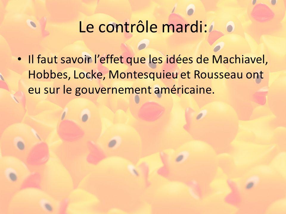 Le contrôle lundi : Il faut avoir des opinions personnelles sur les idées de Machiavel, Hobbes, Locke, Montesquieu et Rousseau.
