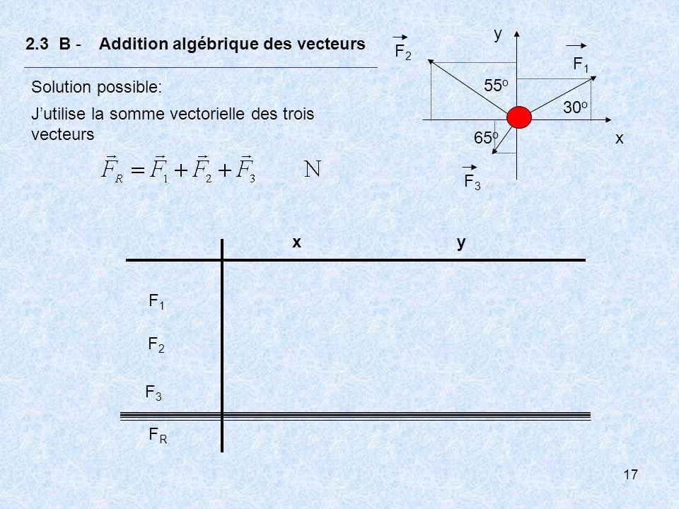 18 2.3 B - Addition algébrique des vecteurs Solution possible: Jutilise la somme vectorielle des trois vecteurs Écrivons dabord les vecteurs forces en fonction des vecteurs unitaires : F1F1 F2F2 F3F3 55 o 30 o 65 o x y