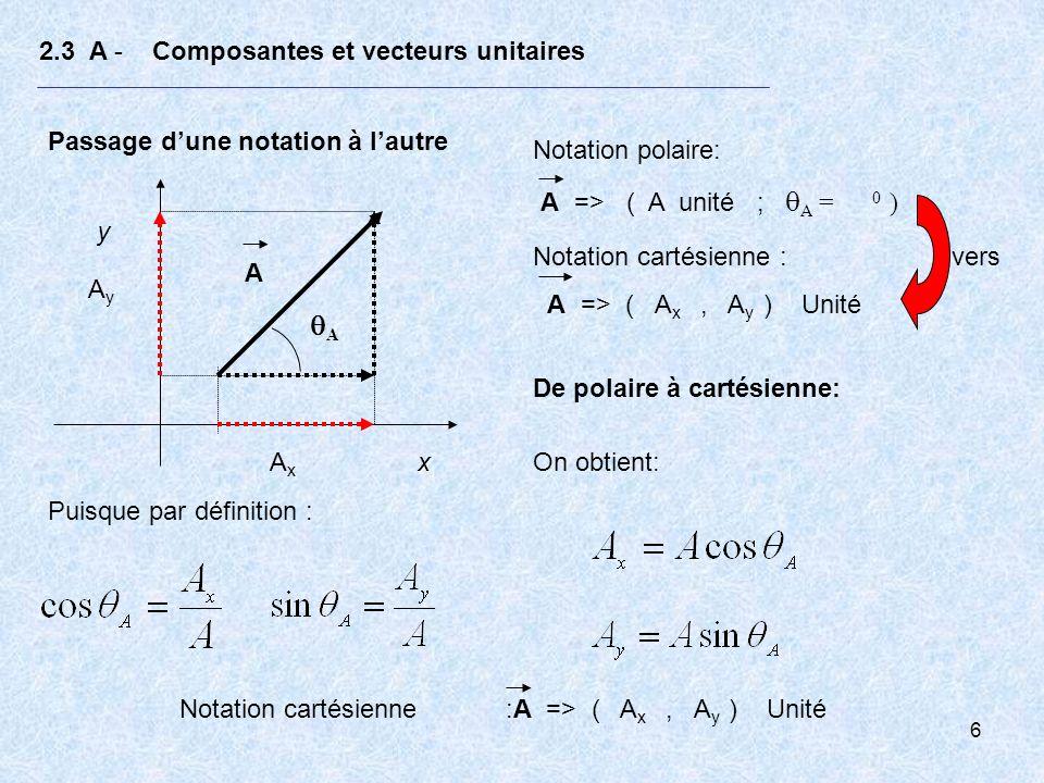 7 2.3 A - Composantes et vecteurs unitaires Passage dune notation à lautre x y A A AxAx AyAy Notation cartésienne : A => ( A x, A y ) Unité Notation polaire: A => ( A unité ; A = 0 ) De cartésienne à polaire: On obtient selon le théorème de Pythagore et par définition: Notation polaire: A => ( A unité ; A = 0 ) vers