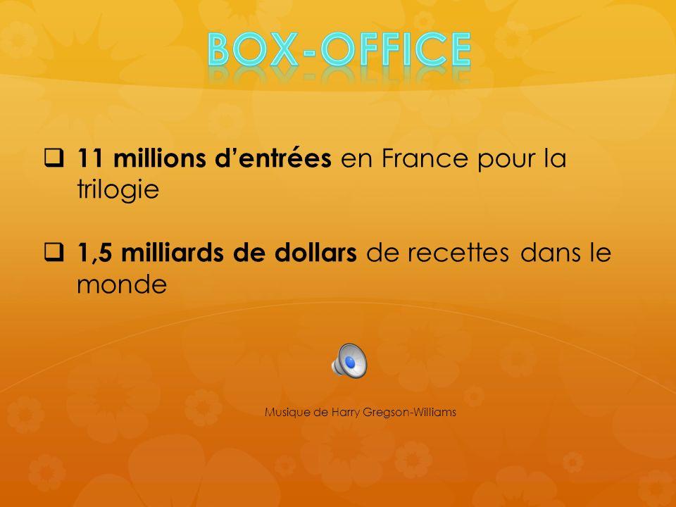 11 millions dentrées en France pour la trilogie 1,5 milliards de dollars de recettes dans le monde Musique de Harry Gregson-Williams