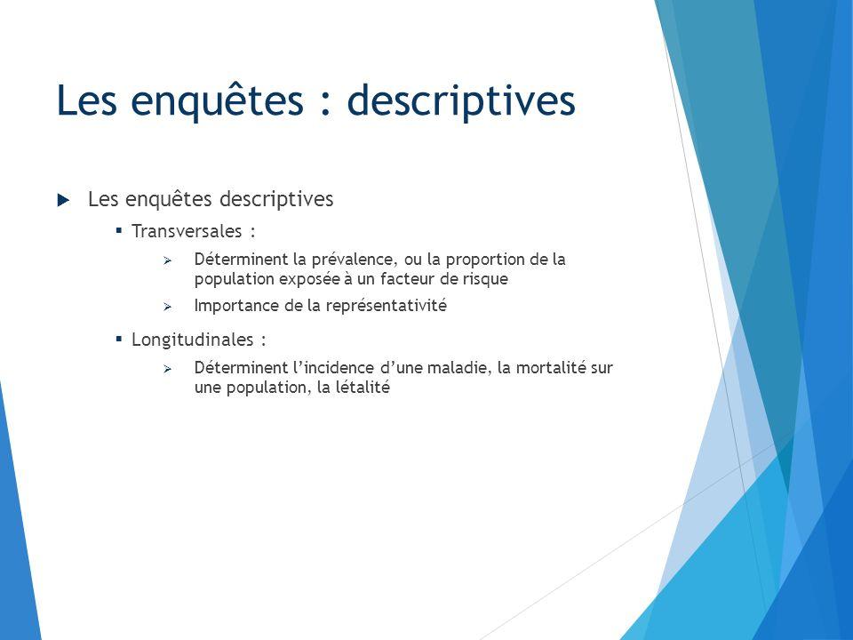 Les enquêtes de cohortes (ou exposés-non exposés): Les enquêtes : analytiques Source : INSERM