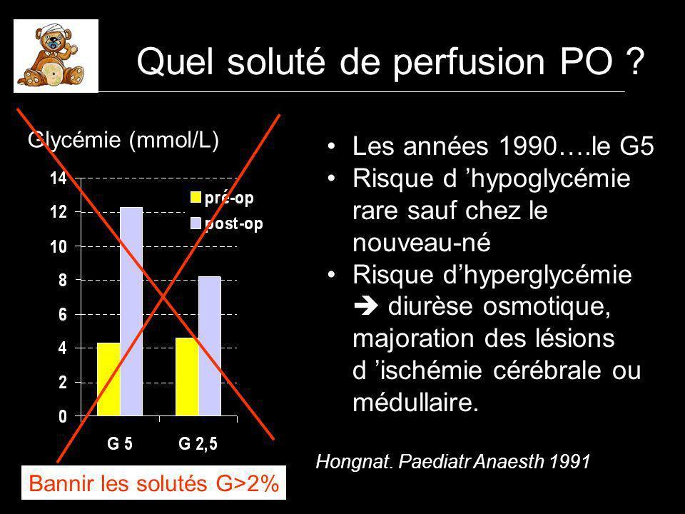Enfants de 12-120 mois, ASA 1, chirurgie mineure RL : Ringer lactate RL G1 : Ringer lactate glucosé 1% G 2,5 : ½ RL ½ G5 (B63) Glycémie mmol/lNatrémie mEq/l Dubois.