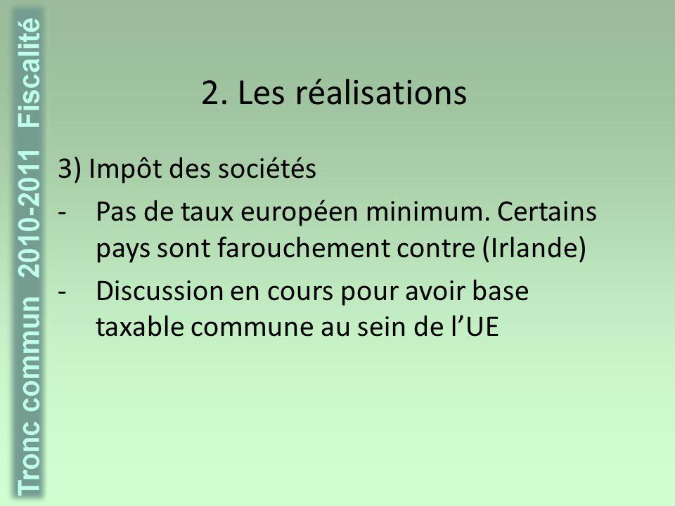 2. Les réalisations Vers une fiscalité plus « verte » ?