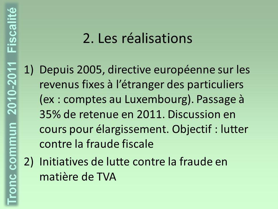 2.Les réalisations 3) Impôt des sociétés -Pas de taux européen minimum.