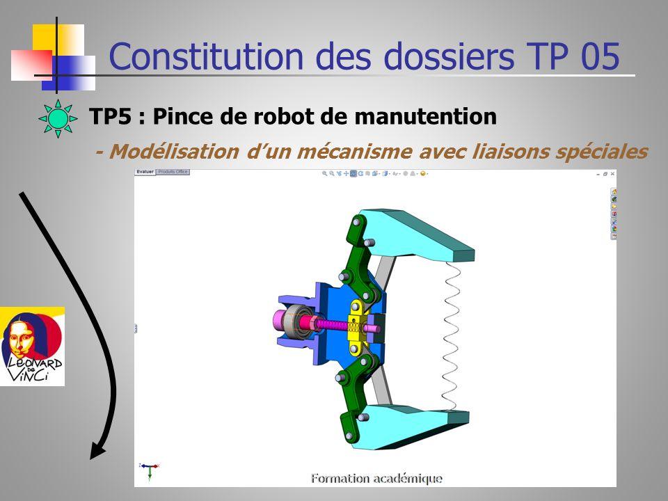 TP5 : Pince de robot de manutention Chapitres abordés - Création de la liaison Hélicoïdale -La création des ressorts de compression ou de traction -La création de Film vidéo en format AVI -Léquiprojectivité dune pièce en rotation Constitution des dossiers TP 05