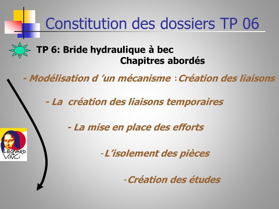 TP 7: Pince de Robot : Etude cinématique statique & dynamique Constitution des dossiers TP 07
