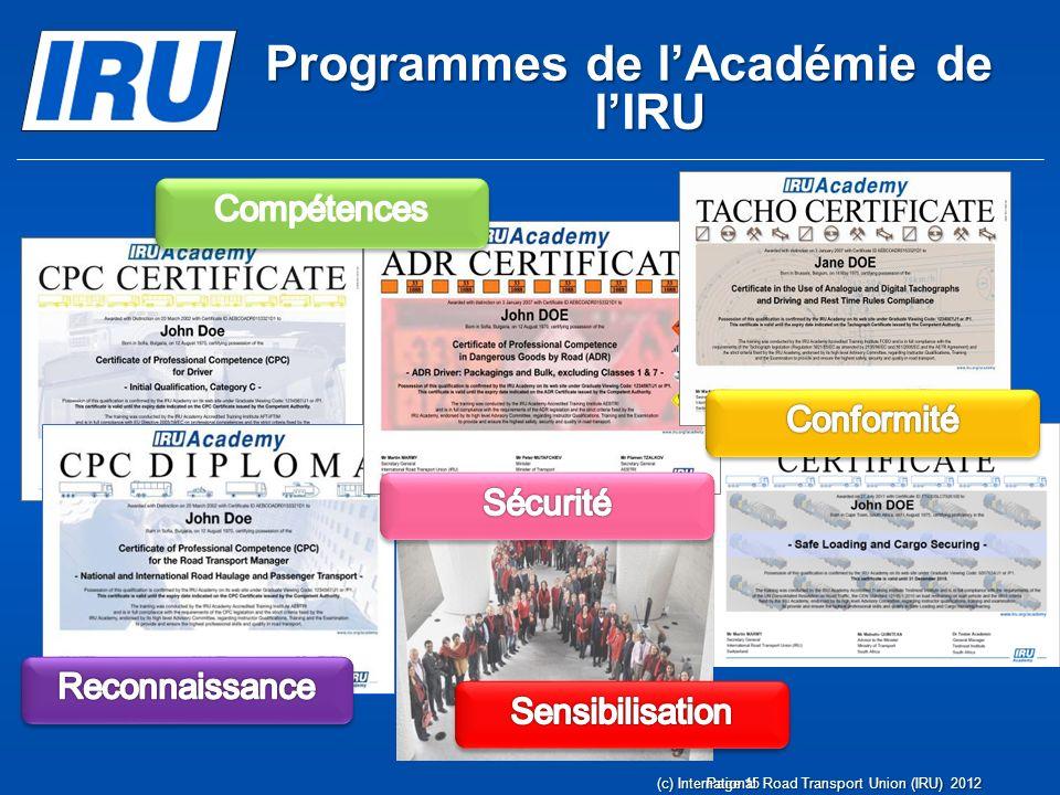 Transports Internationaux Routiers Administré par lIRU depuis 1949 (c) International Road Transport Union (IRU) 2012Page 16 Sécuriser et faciliter les échanges et le transport routier international