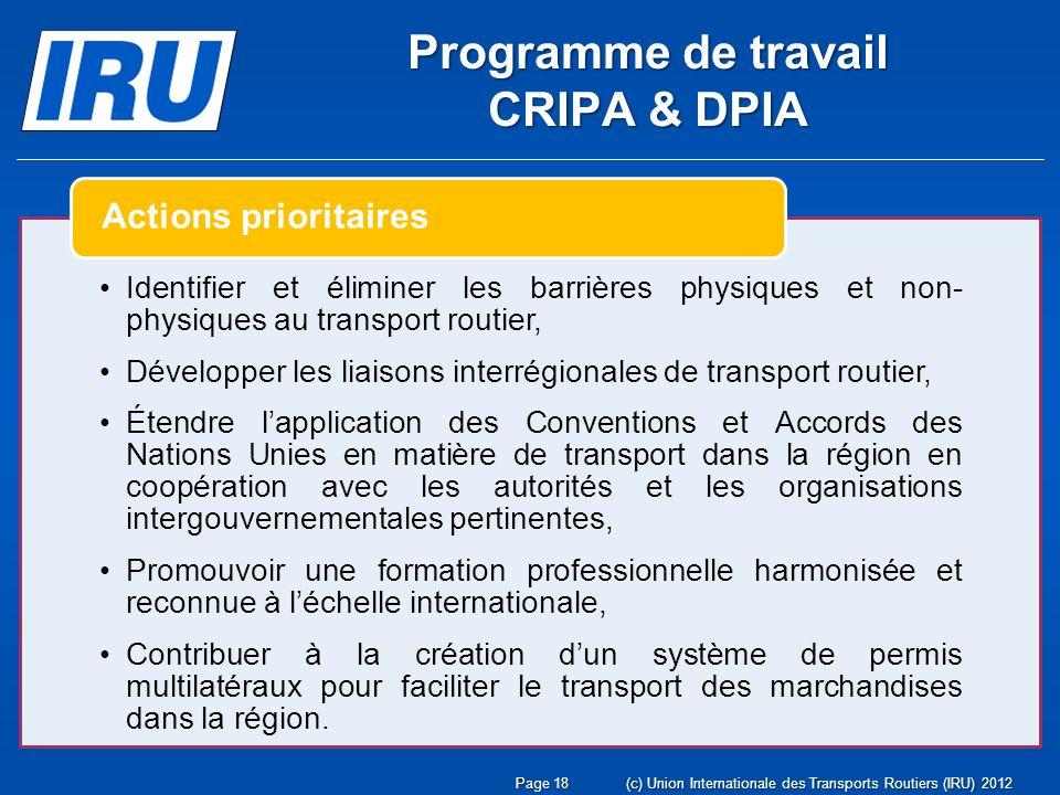 Page 19(c) Union Internationale des Transports Routiers (IRU) 2012 Développer des coopérations avec les organisations régionales et les banques de développement dans le but de définir des programmes dassistance technique destiné à mettre en œuvre des procédures permettant déliminer les obstacles au transport routier, Participer aux travaux de la Commission Economique pour lAfrique de lONU dans le but dobtenir une Résolution invitant les états africains à rejoindre les grandes conventions internationales de facilitation du transport routier.