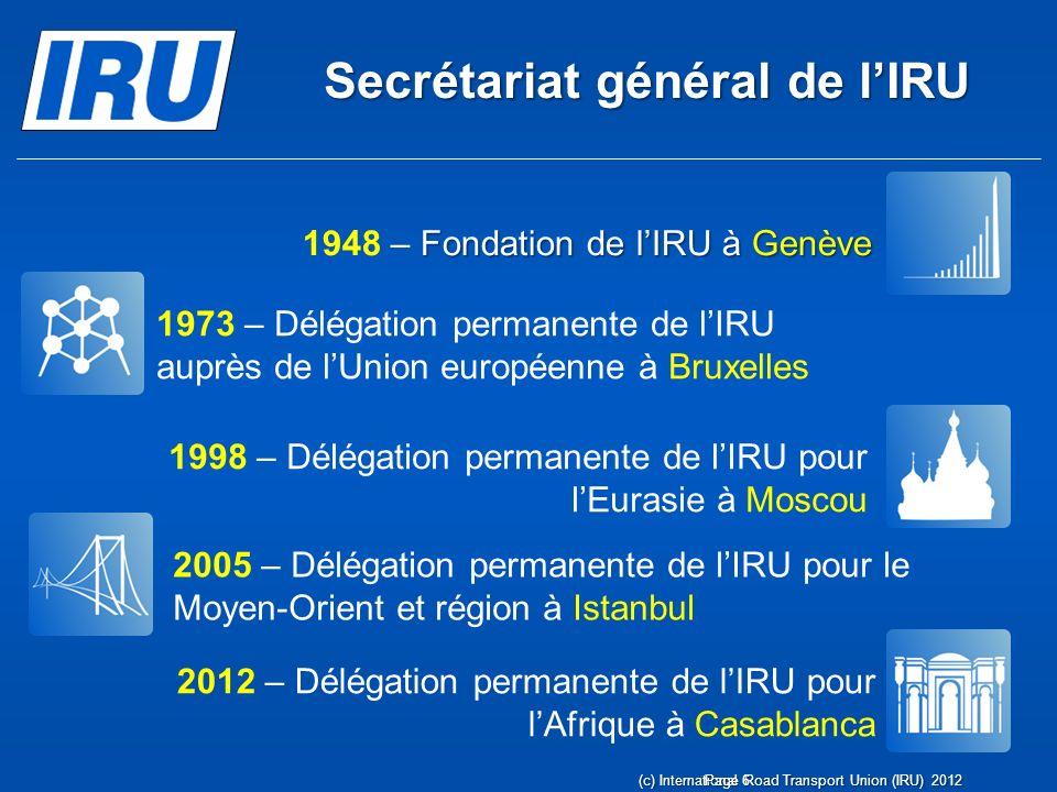 De nouvelles régions ont fait appel à lIRU pour bénéficier de ses 60 ans dexpérience Page 7 (c) International Road Transport Union (IRU) 2012