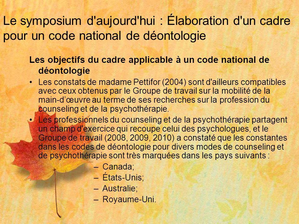 Le symposium d aujourd hui : Élaboration d un cadre pour un code national de déontologie Contexte : Janel Gauthier a déterminé des principes communs qui fondent les codes de déontologie à l échelle internationale.