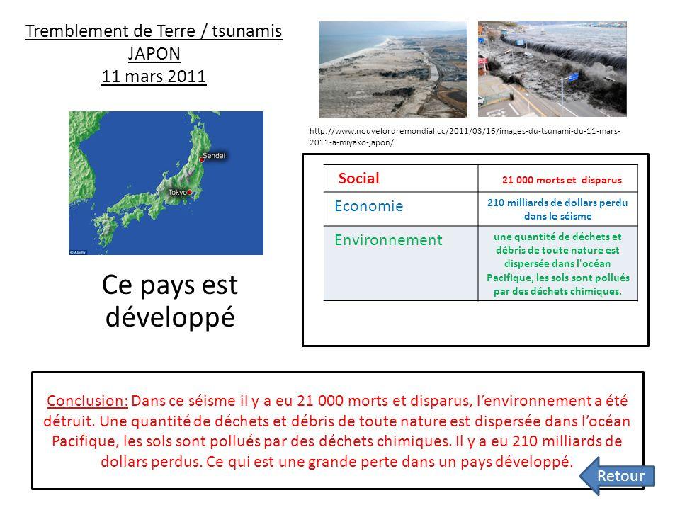 Tremblement de Terre / tsunamis JAPON 11 mars 2011 Ce pays est développé Conclusion: Dans ce séisme il y a eu 21 000 morts et disparus, lenvironnement a été détruit.