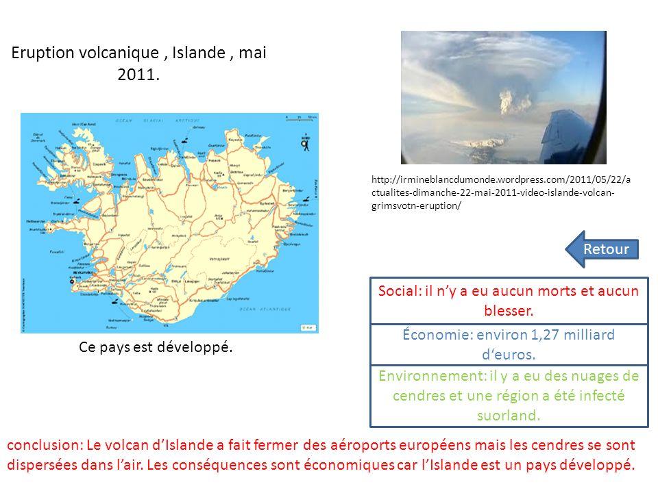 Eruption volcanique, Islande, mai 2011.Ce pays est développé.