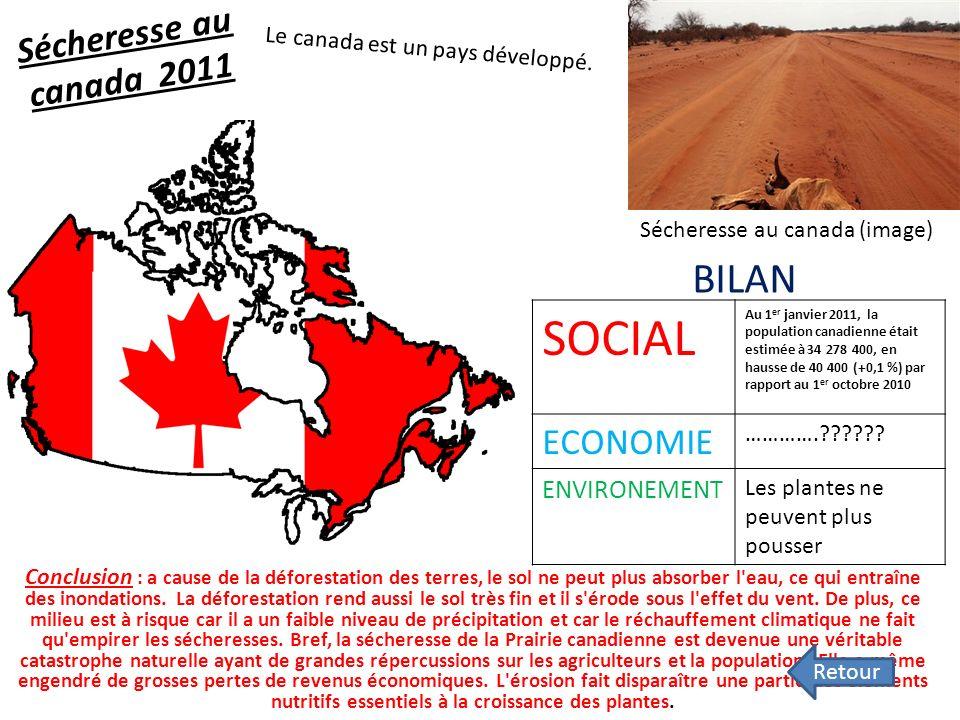 Sécheresse au canada 2011 Conclusion : a cause de la déforestation des terres, le sol ne peut plus absorber l eau, ce qui entraîne des inondations.