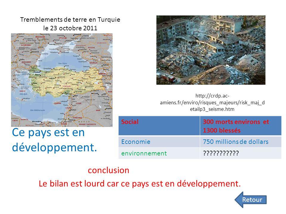 Tremblements de terre en Turquie le 23 octobre 2011 Ce pays est en développement.