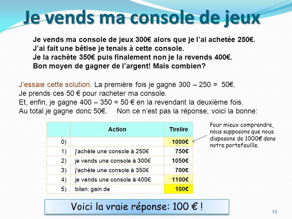 Je vends ma console de jeux Je vends ma console de jeux 300 alors que je lai achetée 250.