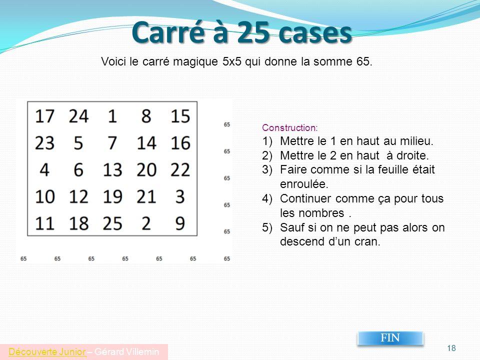 Carré à 25 cases Voici le carré magique 5x5 qui donne la somme 65.