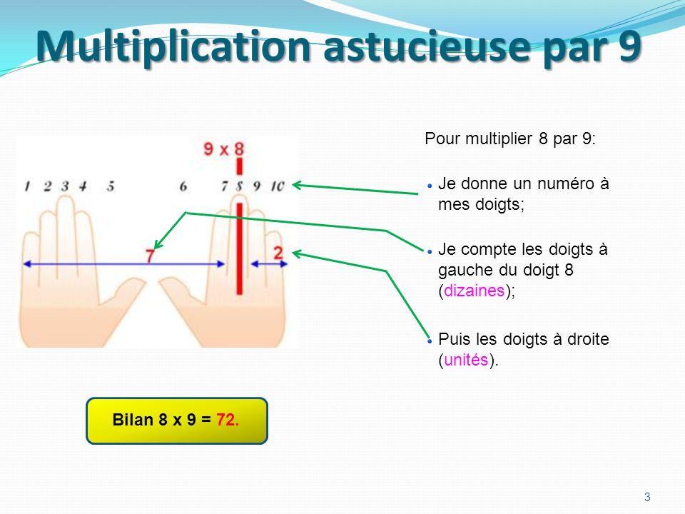 Multiplication astucieuse par 9 Pour multiplier 8 par 9: 3 Bilan 8 x 9 = 72.