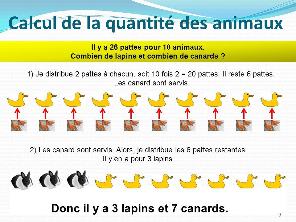 Calcul de la quantité des animaux Il y a 26 pattes pour 10 animaux.
