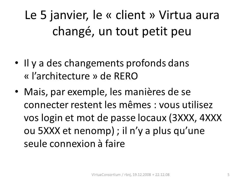 6VirtuaConsortium / rbnj, 19.12.2008 POUR SE CONNECTER: AVANT (situation actuelle) APRES (avec Virtua Consortium)