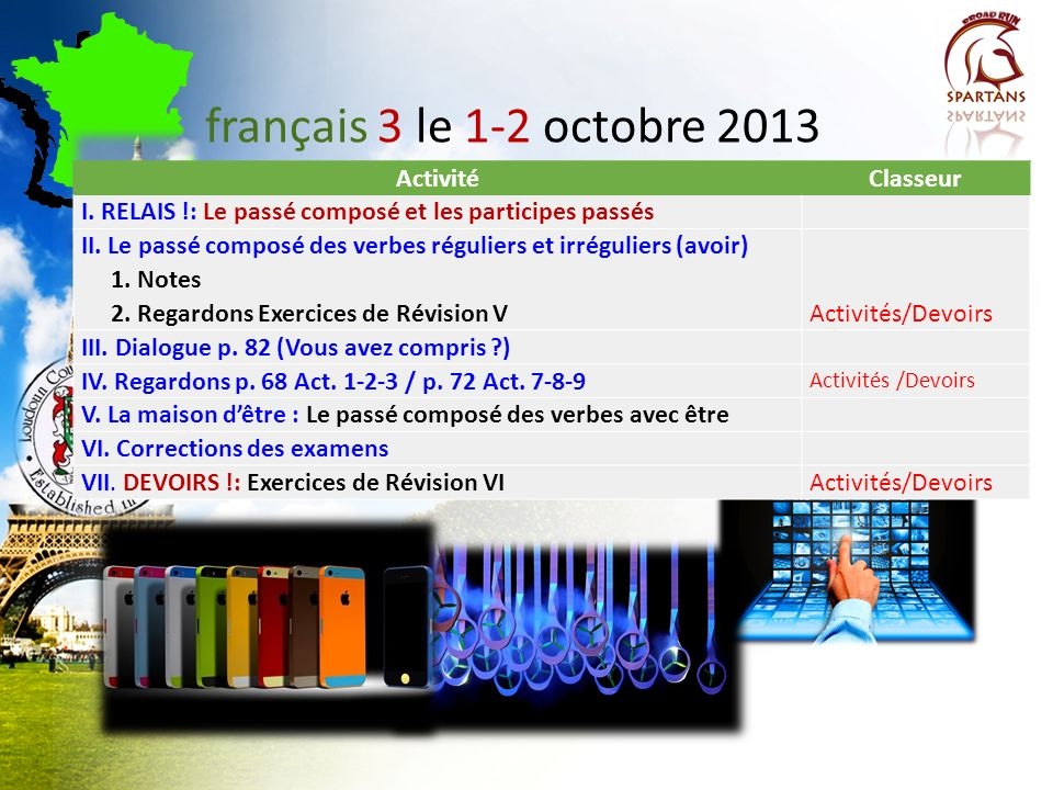 français 3 le 1-2 octobre 2013 ActivitéClasseur I.