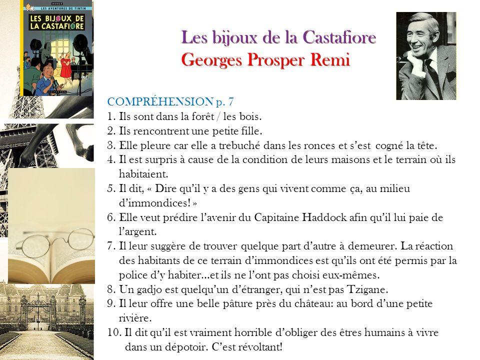 Les bijoux de la Castafiore Georges Prosper Remi COMPRÉHENSION p.