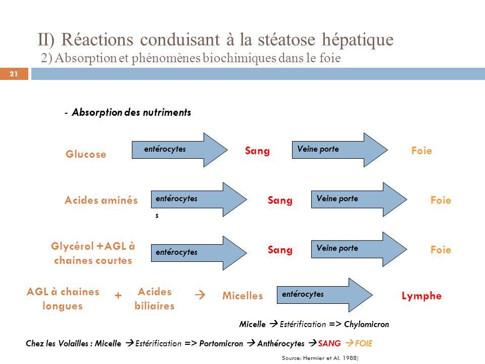 II) Réactions conduisant à la stéatose hépatique 2) Absorption et phénomènes biochimiques dans le foie - Utilisation normale du glucose chez des animaux alimentés normalement Glucose Fonctionnement des cellules Fonctionnement musculaire et Mise en réserve dans les muscles (glycogène) Mise en réserve dans le foie (glycogène) Augmentation de lInsuline Glycogénogénèse Pendant la digestion 22