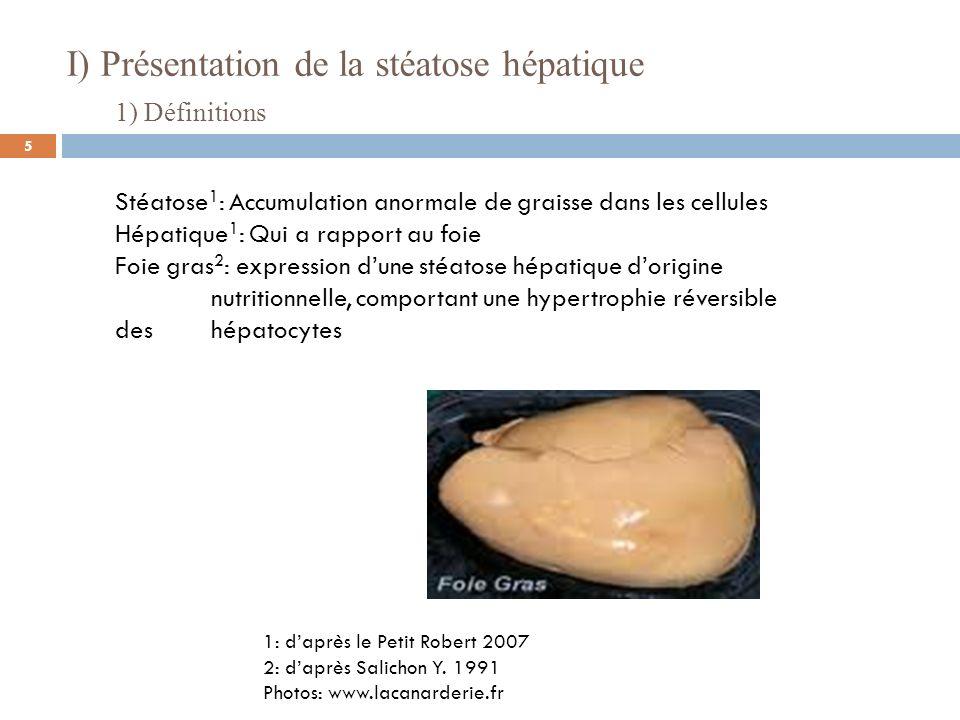 2) Composition du foie gras 3 : Lipides: +50% du poids du foie (vs 5% non gavés) Triglycérides: 95 % des lipides (AG monoinsaturés) Cholestérol: 1g/100g de foie 3: daprès Gabarrou et al 1996 I) Présentation de la stéatose hépatique 6