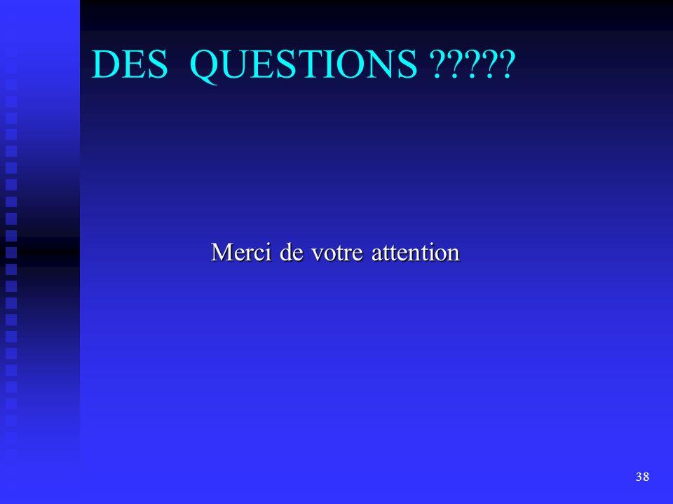 38 DES QUESTIONS ????? Merci de votre attention