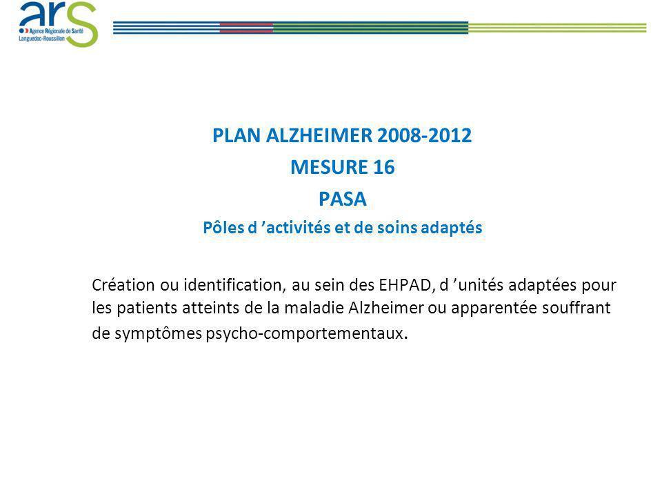 Contexte et objectifs de la mesure Le PASA permet d accueillir dans la journée les résidents de l EHPAD (12 à 14 personnes) atteintes de la maladie Alzheimer ou apparentée ayant des troubles du comportement modérés.