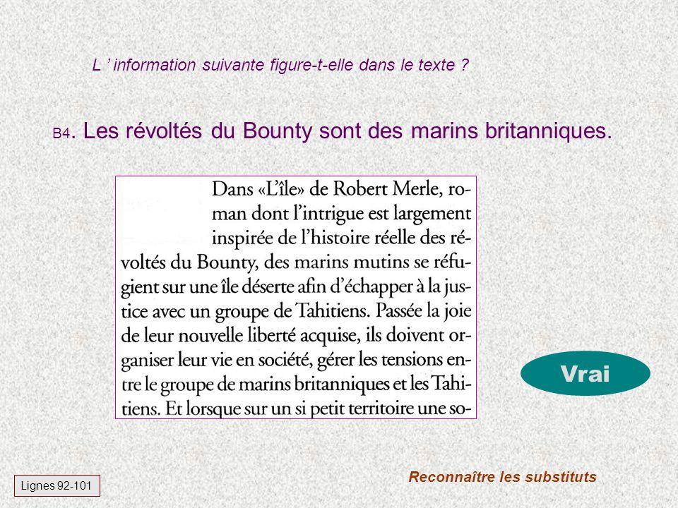 B4.Les révoltés du Bounty sont des marins britanniques.