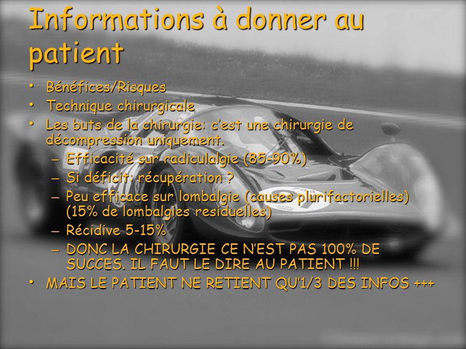 Techniques opératoires: Sous AG /sous rachianesthésie Sous AG /sous rachianesthésie Taille de lincision de 15 à 40 mm Taille de lincision de 15 à 40 mm Abord intermyo-lamaire ou trans musculaire Abord intermyo-lamaire ou trans musculaire Abord isthmique (HD foraminale) Abord isthmique (HD foraminale) Herniectomie + curetage discal Herniectomie + curetage discal Parfois simple herniectomie (endoscopie, HD foraminale > HD exclue) mais récidive++ Parfois simple herniectomie (endoscopie, HD foraminale > HD exclue) mais récidive++ 3 façons de voir le foyer opératoire: 3 façons de voir le foyer opératoire: – Œil ou lunettes grossissantes = Classique (3D) – À travers le microscope = Microchirurgie (3D) – Sur un écran = endoscopie (2D)