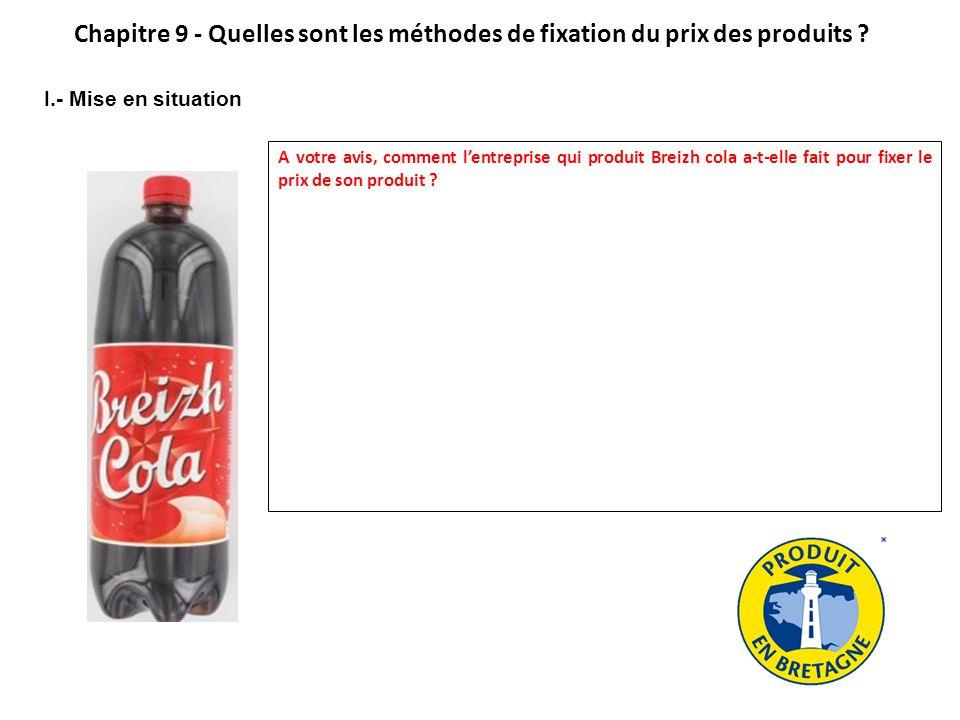 II.- Rappel sur le coût de revient de lentreprise industrielle Ingrédients : Retrouvez les charges qui permettent de calculer le coût de revient dune bouteille de Breizh cola